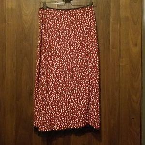 HUGO BUSCATI Red w/Cream Polka Dots Midi Skirt